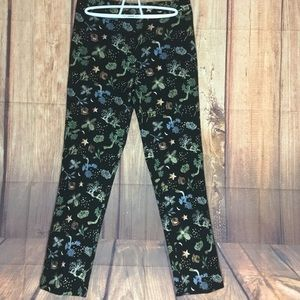 H&M ankle pants embroidered bees crowns trees